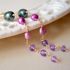 NEW Long Pearl Earrings Forest Green Magenta by livjewellery, $62.00