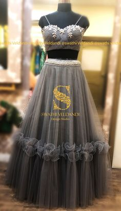 Stunning gray color skirt and top. Blouse with hand embroidery work. call/watsapp for details 19 May 2019 Choli Blouse Design, Choli Designs, Lehenga Designs, Indian Designer Outfits, Indian Outfits, Designer Dresses, Indian Wedding Gowns, Indian Gowns Dresses, Party Wear Dresses
