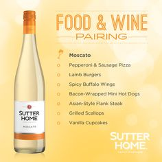 Food and wine pairing: Moscato!  Just in time for National Moscato Day on May 9, so I better get to the grocery store!