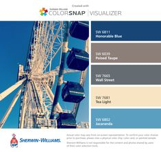 I found these colors with ColorSnap® Visualizer for iPhone by Sherwin-Williams: Honorable Blue (SW Poised Taupe (SW Wall Street (SW Tea Light (SW Jacaranda (SW Taupe Color Palettes, Taupe Colour, Color Pop, Taupe Paint, Taupe Walls, Wall Colors, House Colors, Dark Blue Curtains, Paint Color App