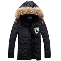 Online Shop Military Style Men's Winter Jacket 100% White Duck Down Coat With Fur Hood Feather Pads Winter Parka Real Natural Fur Collar|Aliexpress Mobile