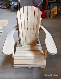 Make this comfy DIY Wood Adirondack Chair in one weekend! Step by step tutorial, material list and paint color included! projects tips woodworking Plans Chaise Adirondack, Wood Adirondack Chairs, Outdoor Chairs, Patio Chairs, Adorondack Chairs, Yellow Chairs, Dining Chairs, White Chairs, Lounge Chairs