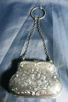 Antique English Sterling Silver Repousse Coin Purse w/ Cherubs..1905...Zimmerman #AJZimmerman. Sold for $142