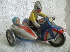 Vintage Tin Motorcycle with Sidecar, Wind Up, made in China, 1970's Working Condition by route78collectibles on Etsy