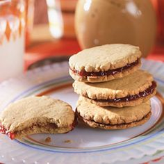 Peanut Butter and Jelly Sandwich Cookies    Just like the classic childhood lunch, this sandwich cookie is a quick-and-easy and comforting bite. Thanks to calorie-free sweetener and low-sugar strawberry jam, even people with diabetes can enjoy this sweet treat.