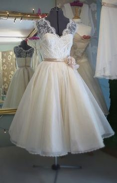 I like all the features of this dress, but not the actual dress for some reason.. Pinner wrote: Time For Tea ~ Tea Length Wedding Dresses by Independent Dress Designer, Joanne Fleming...