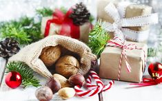 Download wallpapers Christmas, nuts, gift, hazelnuts, New Year, decoration