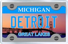 $3.29 - Acrylic Fridge Magnet: United States. License Plate of Detroit Michigan