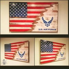 "<p>Made to order Wooden 21""x36"" USA/Air Force Flag. $85.00 each. All of my  flags are hand painted, never vinyl.  There will be markings or knots in"