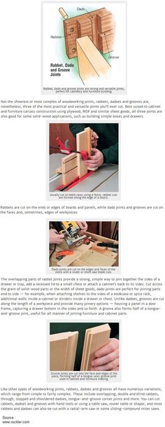 Cutting and Using Simple Rabbet, Dado, and Tongue-and-Groove Joints
