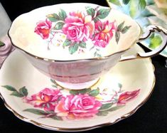 FOLEY tea cup and saucer yellow pink roses teacup swirl