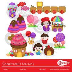 Candyland Fantasy Clipart / Digital Clip Art for by comodo777