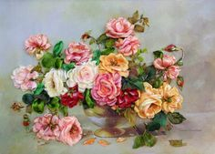 "Embroidered picture ""The vase with  the roses"",  Silk ribbon embroidery, 3D effect picture di SilkRibbonembroidery su Etsy"