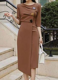 Elegant Dresses, Casual Dresses, Dresses For Work, Classy Dress, Classy Outfits, Women's Fashion Dresses, Dress Outfits, Daily Dress, Work Fashion