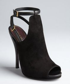 Gucci : black leather and suede slingback ankle strap cutout peep toe pumps