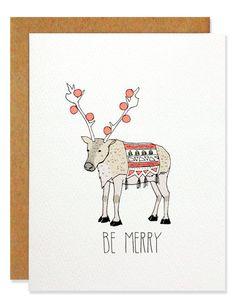 Be Merry Reindeer - Holiday Greeting Card – hartlandbrooklyn