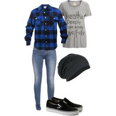 Girly tomboy outfit ... Slouch beanie , flannel and skinny jeans. I'd rather…                                                                                                                                                                                 More