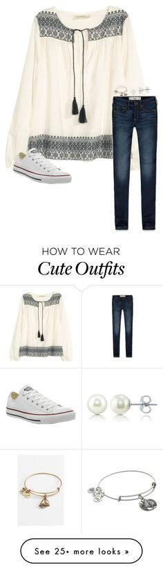 """""""Cute school outfit"""" by lillypulitzera on Polyvore featuring H&M, Abercrombie & Fitch, Converse, Alex and Ani and BERRICLE"""