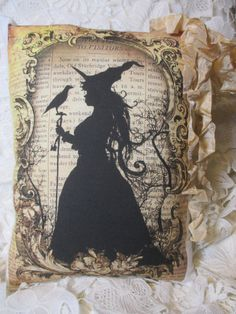 Tea Dyed HALLOWEEN Witch Pillow Primitive Script by ThePeonyShanty