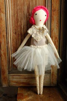 Handmade Rag Dolls by Gaiia Kim, One-of-a-Kind Cloth Doll, Ballerina No 52