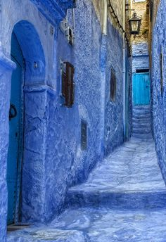 Indigo is the pigment that is abundant in picturesque Chefchaouen, Morocco