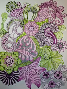 Have been trying Zentangles at home, so much fun and so pretty, but I was doing them with pencil - this color is amazing! by country15, via Flickr