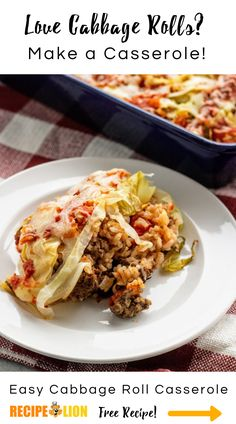 Easy Cabbage Roll Casserole Lazy Cabbage Rolls, Cabbage Roll Casserole, Cooked Cabbage, Best Dinner Recipes, Roasted Vegetables, Ground Beef Recipes, Casserole Recipes, Recipe Ideas, Chicken Recipes