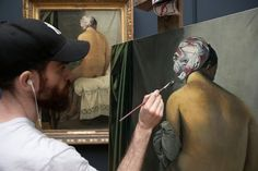 "Sam Rachamin, an Israeli artist, copies ""La baigneuse,"" a painting by Jean-Auguste-Dominique Ingres."