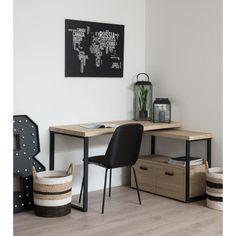 Bureau d'angle URBAN de style industriel en métal noir + plateau décor bois clair - L 135 cm