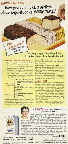 """Tagline: """"Betty Crocker tells: How you can make a perfect double-quick cake every time!"""" Published in Good Housekeeping magazine, October Vol. 129 No. 4 Fair use/no known copyright. If you use(Quick Cake Recipes) Retro Recipes, Old Recipes, Vintage Recipes, Cookbook Recipes, Cooking Recipes, Cake Recipes, Yummy Recipes, Dessert Recipes, Cupcakes"""