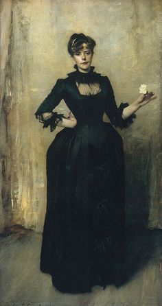 John Singer Sargent, Lady with the Rose (Charlotte Louise Burckhardt), 1882. Oil on canvas, 84 x 44¾ in. Metropolitan Museum of Art, New York (link)