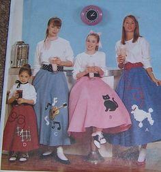 Girl's 1950's rock n roll CIRCLE Poodle SKIRT Pattern 3 4 5 6 sock hop petticoat