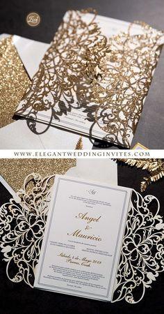 Lavishly in love rose gold glittery laser cut wrap with classic invitation EWWS270