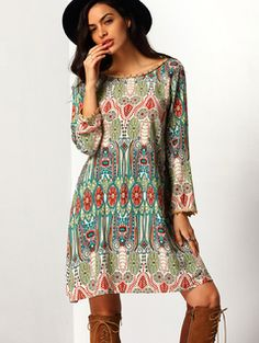 Online shopping for Boat Neck Printed Dress MULTI from a great selection of women's fashion clothing & more at MakeMeChic.COM.