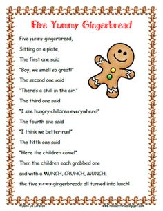 Five YUMMY Gingerbread Poem and Roll and Cover Freebie