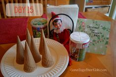 Elf on a shelf - The Elf left us the ingredients and directions to make some yummy Christmas Tree desserts