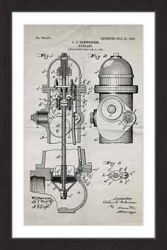 Hydrant 1903 black paper products black paper and paper hydrant 1903 old paper old paperblueprint artproducts malvernweather Gallery