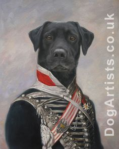 Dogs in military uniform oil painting. Look at this amazing black lab in military uniform hand-painted by DogArtists.co.uk. If you would like to have your dog painted in uniform please email: hello@dogartists.co.uk #art #dogs #dogsinuniform