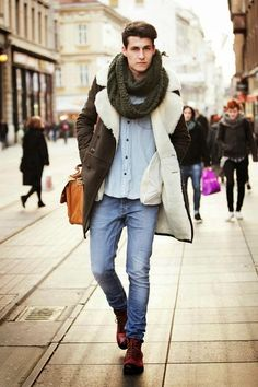 denim shirts, denim pants, long brown coat