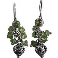 Holiday Peridot, Silver & Garnet Earring | InterweaveStore.com