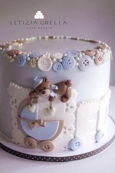 Image result for letizia grella children cake Torta Baby Shower, Baby Shower Sweets, Beautiful Cakes, Amazing Cakes, Fondant Cakes, Cupcake Cakes, Teddy Bear Cakes, Baby Boy Cakes, Shower Bebe
