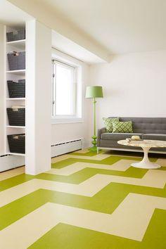 Forbo Flooring Systems - Marmoleum Click - floor, spring, green, lime, design, interior, inspiration, color, livingroom, linoleum, home decor, furniture - herringbone