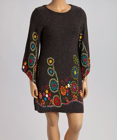 Loving this Black & Green Floral Bell-Sleeve Sweater Dress - Plus on #zulily! #zulilyfinds
