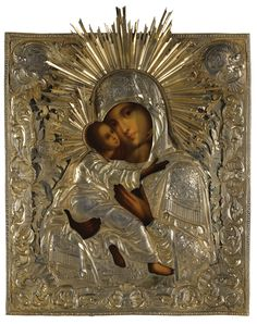 A Silver-gilt icon of the Vladimirskaya Mother of God, St Petersburg, 1841