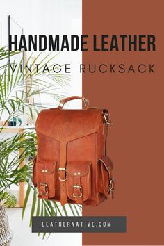 This Leather 2-in-1 Rucksack and Courier Bag is for people who are self-aware in a unique fashion taste. Whether you have got a new job or are traveling your favorite destination, this vintage leather bag is a perfect complement. How To Make Leather, Small Leather Bag, Leather Bags Handmade, Simple Bags, Natural Leather, Vintage Leather, Unique Fashion, Traveling By Yourself, Messenger Bag