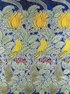 Birds or Let us Pray textile design by CFA Voysey, 1909