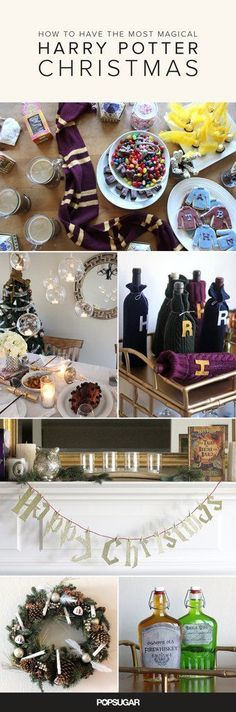 Harry Potter dreams do come true for Christmas. we can continue our Harry Potter fall into Harry Potter Christmas! Party Harry Potter, Harry Potter Fiesta, Harry Potter Thema, Cumpleaños Harry Potter, Harry Potter Birthday, All Things Christmas, Christmas Time, Hogwarts Christmas, Christmas Ideas