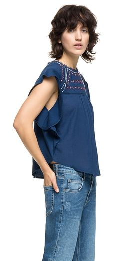 READY TO WEAR Women knitted t-shirt BLUE