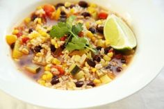Mexican-style vegetable soup recipe - *Very yummy. added green chilies for kick and could add chicken or ground beef. Mexican Food Recipes, Vegetarian Recipes, Healthy Recipes, Ethnic Recipes, Dinner Recipes, Vegetable Soup Recipes, Veggie Soup, Easy Eat, Edible Food
