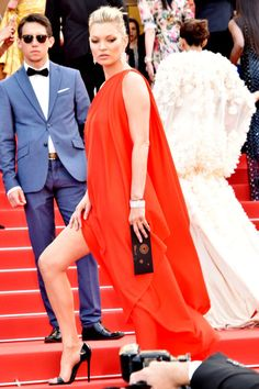 The 10 best dressed celebrities at the 2016 Cannes Film Festival: Kate Moss in a red, high-slit dress by Halston